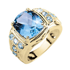 14K Solid Yellow Gold Natural Blue Topaz Gem Stone Men's Ring it's Father's Day