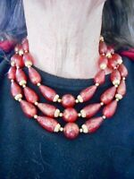 Authentic Vintage 1950's Red w/Gold Brush Lucite Bead Triple Strand Necklace
