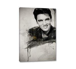 Elvis Presley Portrait 90x60cm Leinwandbild Vintage Aquarell Wandbilder Caro Art
