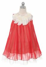 New Red Flower Girl Chiffon Dress Pageant Wedding Christmas Birthday Formal 284