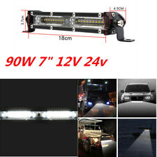 "90W 7"" Car Waterproof LED Work Light Bar Driving Fog Lamp Flood Spot Combo 1Pcs"