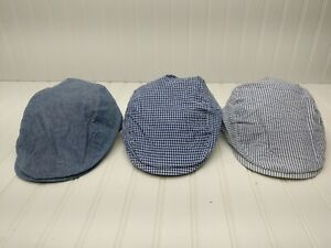 Lot of 3 NWT Kids Boys Newsboy Cap Hat Chambray Seersucker Gingham Blue