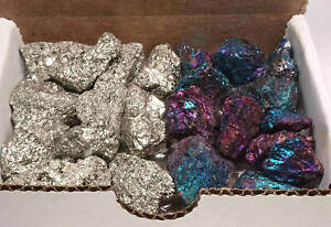 Iron Pyrite & Chalcopyrite Collection 1/2 Lb Natural Fools Gold Peacock Ore