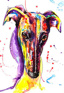 Greyhound Whippet Lurcher art print gift painting poster - Mounting Options