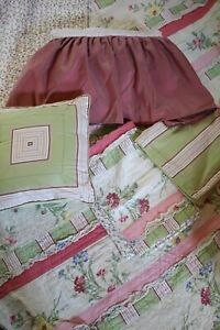 Laura Ashley Home 7 Piece Queen Quilt Set Reversible Pink Floral Ruffle