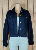 MICHAEL KORS Womens Size Large Long Sleeve Button Down Navy Blue Jean Jacket NWT