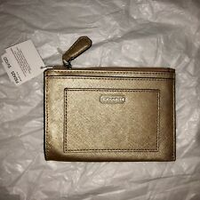 Coach NWT Darcy Gold Saffiano Leather Skinny Wallet With Keychain F49966