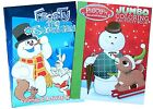 Set of 2 Rudolph the Red-Nosed Reindeer  Frosty the Snoman Kids Coloring Books