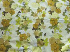 Vintage 1960's Cotton Interiors Fabric Yellow Cream Floral Stripes per Metre