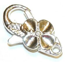 M7206L Bright Silver Large 25mm Flower Design Lobster Claw Focal Clasp 5pc