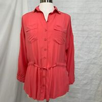 Ya Los Angeles Women's S Top Tunic Pink Peach Drawstring Tie Waist 3/4 Sleeve #X