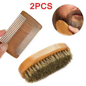 Gents Mens Boar Bristle Shaving Moustache Beard Brush And Comb Set Kit Wooden