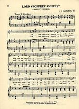 Vintage AMHERST COLLEGE song sheet-'LORD JEFFREY AMHERST' c 1931 - Massachusetts