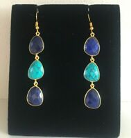 Brand New Handmade Lapis Lazuli & Turquoise 18k Gold Plated Hanging Earrings