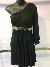 100% Auth JAGGER BRAND Black and Gold One Shoulder Dress size L!