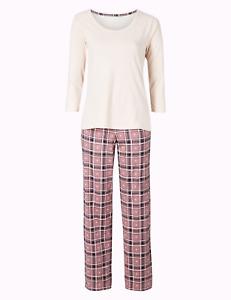 M&S Marks & Spencer Womens Pure Cotton Check ¾ Sleeve Pyjama Set Pink 8-10 BNWT