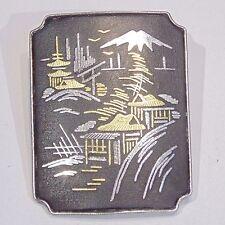 Vintage Sterling Silver Japanese Damascene pin/brooch by Amita, Mt. Fuji scene
