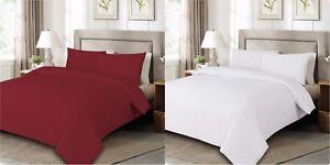Plain Duvet Cover Bedding Set Double King Including Pillow Cases RED / WHITE