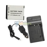 New EN-EL19 ENEL19 Battery + Charger for Nikon Coolpix S4100 S3100 S2500 Camera
