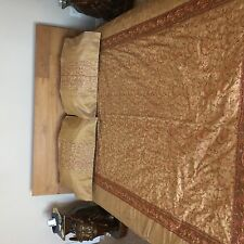 Rajasthani Hand embroidered Silk Dupioni Bed Cover with 4 Pillow Cases