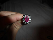 Ruby Ring over 1 carat with Diamonds Pt900 ring SIze 6(USA)