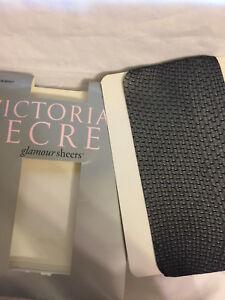 Victoria's Secret Glamour Sheer Black Fishnet Pantyhose Point D'Espirit Small Ne