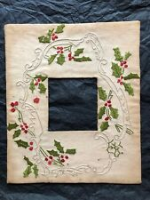Vintage Embroidered Picture Photo Frame  Leaves Berries  Scrollwork Silky Thread