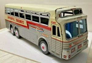 Vintage 1960's Continental Trailways Tin+Friction Bus Made In Japan Original!