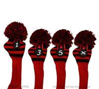 Majek #1 3 5 X Driver Fairway Wood Red & Black Golf Headcover Knit Pom Pom Cover