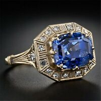 Women's Antique Vintage Cocktail Ring Sapphire Zircon Gemstones Sterling Silver