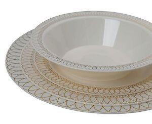 Premium Reflective Plastic Wedding Plates - Bulk Pack - Ovals Design -Free Ship