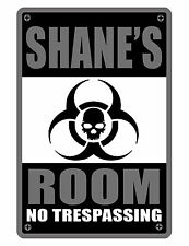 PERSONALIZED ROOM SIGN YOUR NAME BIO HAZARD ALUMINUM HI GLOSS COLOR SIGN dd#408