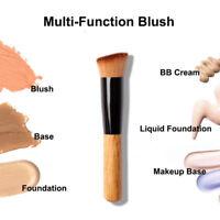 New Flat Angled Wooden Liquid Foundation Powder Contour Bronzer Makeup Brush