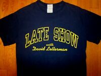 VTG LATE SHOW with DAVID LETTERMAN T-shirt Tee RARE Navy Blue Yellow S Small #29