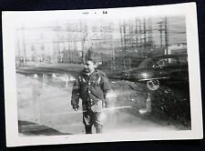 Vtg 1950s Double Exposure PHOTO Snapshot Boy Walks Parked Cars Electric Station