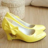 Womens Pumps Bowknot Round Toe Irregular High Heel Lolita Mary Jane Shoes Plus