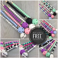 Silicone beaded dummy clip pacifier chain dummie binky clips soother holder