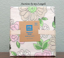 NEW Pottery Barn Teen MAGNOLIA Organic Cotton Twin Duvet PINK/GREEN floral bloom