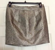 Fossil Women's Gold Metallic Hailey Skirt Size 10 NWT $88