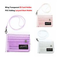 Women Bling Transparent ID Card Holder Wallets PVC Folding Lanyard Short Wallet