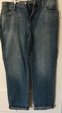 Old Navy Straight Jeans  Cuffed Women's Medium Wash Size 12 New