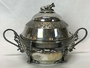 Antique Victorian RACINE Triple Plate Silverplate Covered Butter Dish With Cow