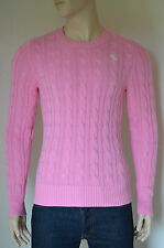 Nueva Abercrombie & Fitch Wolf Estanque Cable Knit Sweater Jumper Rosa L RRP £ 98