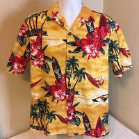 Hilo Hattie Mens Hawaiian Aloha Camp Shirt Medium Yellow Floral Surfboards FS!