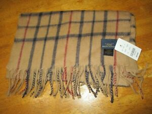 BROOKS BROTHERS 346 100% LAMBS WOOL FRINGED SCARF TAN PLAID 60X12, Scotland