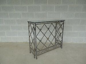 """Designer French Style Heavy Wrought Iron Glass Top Console 35""""W x 12""""D"""