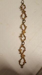 Ancienne Chaîne En Bronze Doré Pour Lustre Suspension décor acanthe rococo 40cm