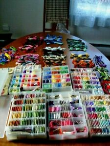 Embroidery Floss JUMBO LOT Over 650 Skeins / Wound Bobbins Needles Boxes Accesso