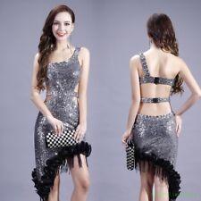 One-Shoulder Lady Dress Tassel Sequin Rhinestone Dance Sexy Latin Tango Ballroom