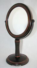 NEW BROWN METAL BASE+COPPER TONE DETAIL DOUBLE SIDED 5X VANITY,BATHROOM MIRROR